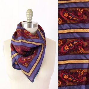 Vintage Paisley Purple Floral Striped Silk Scarf